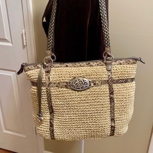 Brighton Straw with Leather Snake Trimmed Handbag